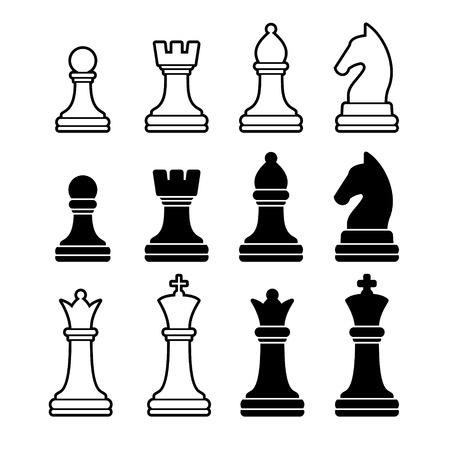 chess: Piezas de ajedrez incluyendo rey reina peón de torre Knight y Bishop Ilustración de conjunto de iconos Vectores