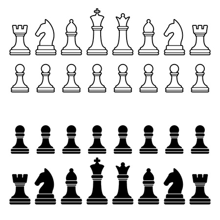 Chess Pieces Silhouette - Black and White Set  illustration Vettoriali