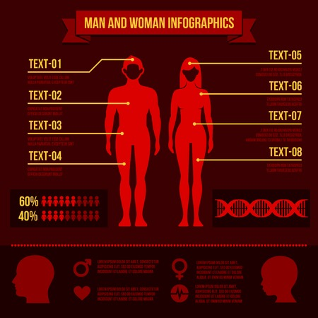 Set of Man and Woman Infographic Elements and Icons illustration Vector