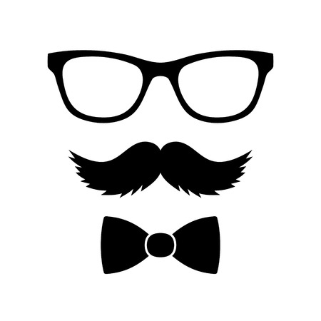 힙 스터 스타일 세트 나비 넥타이, 안경과 콧수염 그림