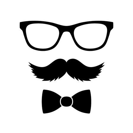Hipster Style Set Bow stropdas, Brillen en Snorren illustratie