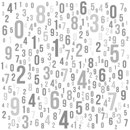 Abstract Background with Numbers Monochrome Illustration