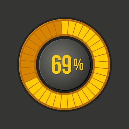 Ring Loading Progress Bar on Dark Background  illustration
