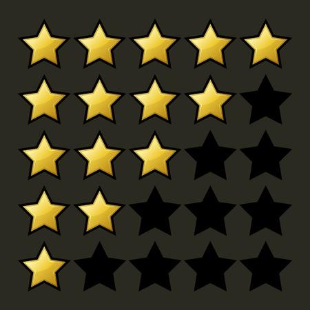 five star: Rating Stars Set on Dark Illustration Illustration