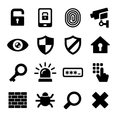 camera surveillance: Security Icons on White Background Illustration