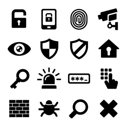 Security Icons on White Background Illustration