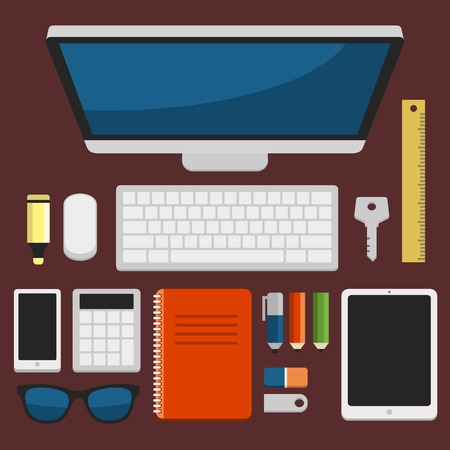 working place: Office Workplace Top View in Flat Design illustration Illustration