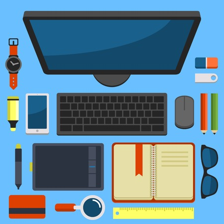 working space: Office Workplace Top View in Flat Design illustration Illustration