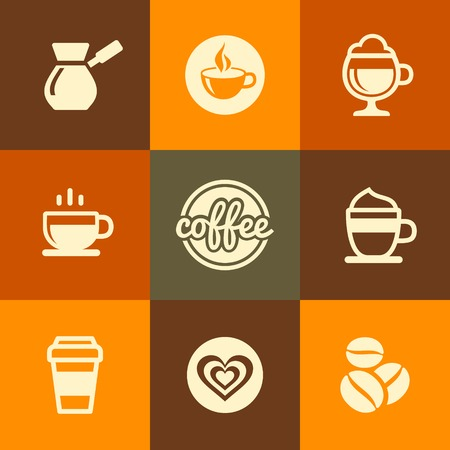 Coffee Icons Set in Flat Design Color Style illustration Vector