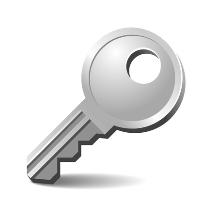 out of doors: Modern Silver Key from Door Isolated on White Background