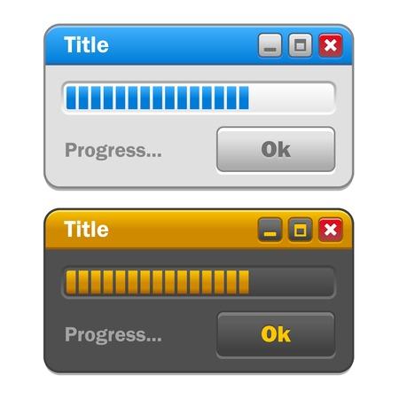 Color Computer Windows Set with Loading Progress Bar  Vector illustration Illustration