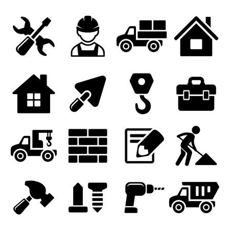 Ikony Construction Set na białym tle ilustracji wektorowych