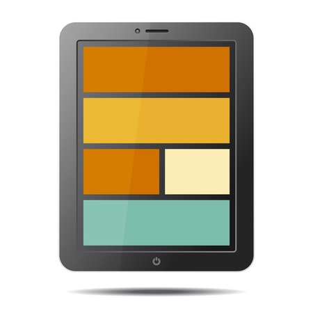 Realistic Tablet PC Computer with Flat Style Screen Isolated on White Background  Vector illustration Vector