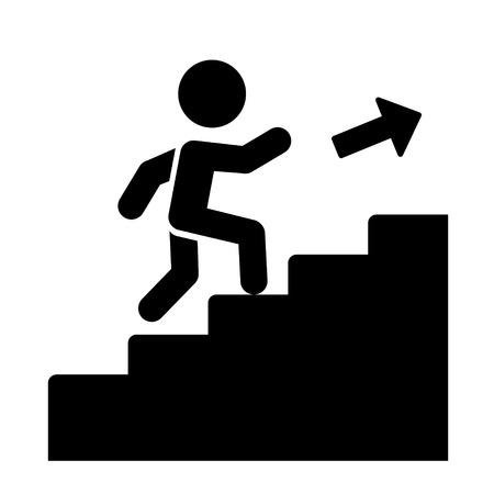 escaleras: Hombre en las escaleras que suben la ilustraci�n del vector del icono