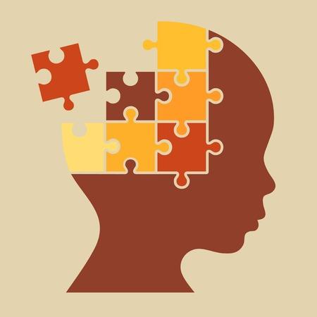 Color Puzzle Human Head Silhouette