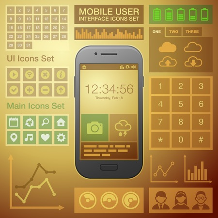 Flat Mobile UI User Interface Design Elements Kit  Vector illustration Vector