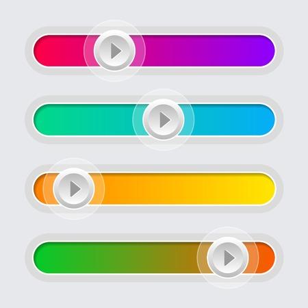 UI Color Volume Control Sliders Set  Vector Illustration  Vector