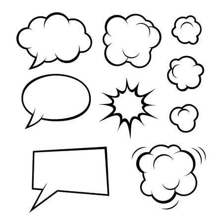 Set of Comic Bubbles and Elements  Vector illustration