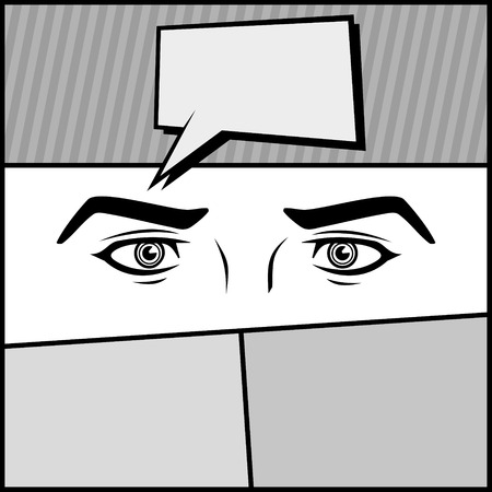 angry look: Comic Page with Eyes and Bubble  Vector illustration Illustration