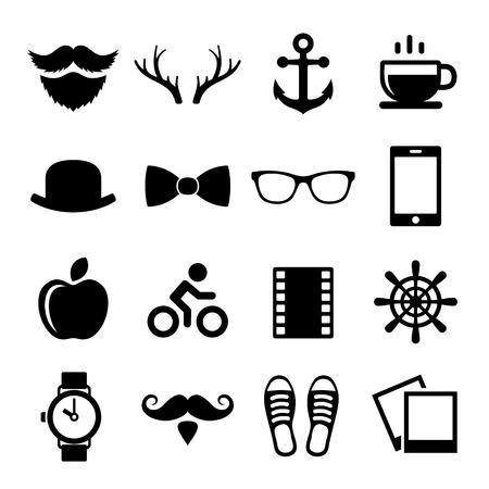 camera icon set: Set of Vintage Hipster Icons  Illustration