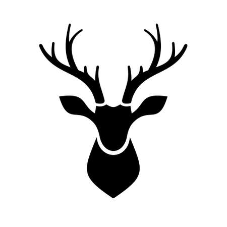 tete de cerf: Deer Head ic�ne sur fond blanc Illustration