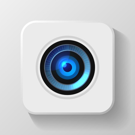 security camera: Blue Camera Lens Icon on White  Vector illustration Illustration