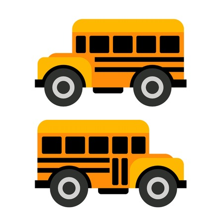 School Bus Icons in Flat Style Illustration Vector