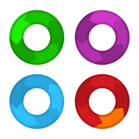 Circle Color Diagram Set in Flat design Style.  Vector