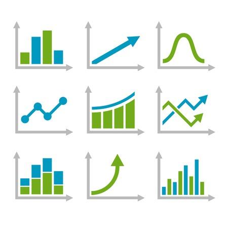 line graph: Color Graph Chart Icons Set.