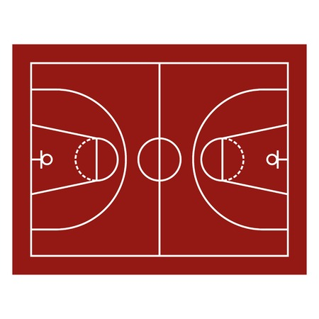 Red Basketball Field.  Vector