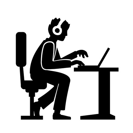 Programmer Silhouette Working on His Computer. Vector illustration Vector