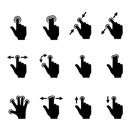 gestos: Iconos gestuales Set for Mobile t�ctil Dispositivos ilustraci�n