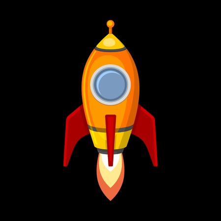 booster: Comic Rocket Ship in Cartoon Style. Isolated on Black.  Illustration