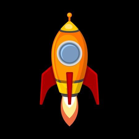 booster: Rocket Ship Comic en estilo de dibujos animados. Aislado en Negro.
