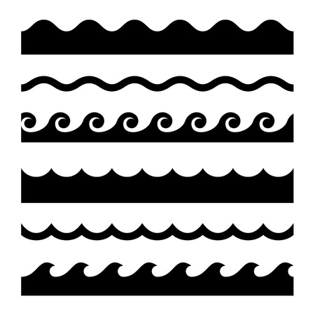 Seamless Wave Pattern Set. Vector