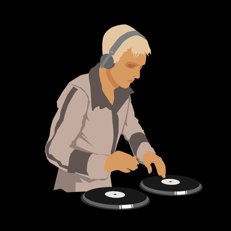 DJ Wearing Headphones and Scratching a Record on the Turntable. Vector illustration