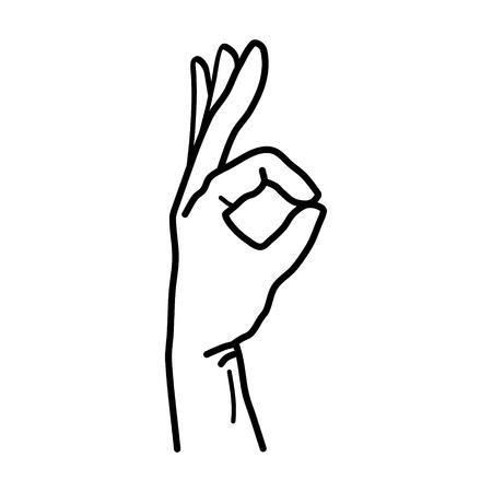okey: Hand OK Sign Isolated on White Background. Vector illustration