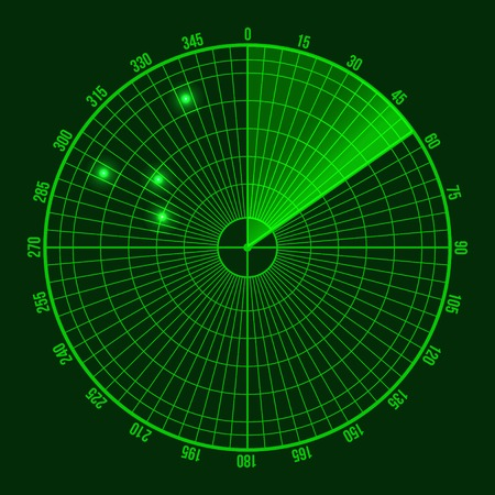 Écran radar vert. Illustration sur fond noir Vecteurs