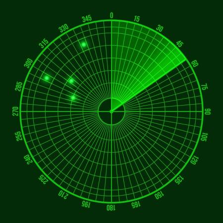 Grüne Radarbildschirm. Illustration auf dunklem Hintergrund Vektorgrafik