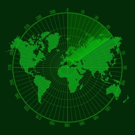 visual screen: Green Radar Screen. Illustration on Map Background
