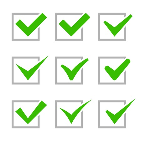 checkboxes: Green Painted Ticks. Check Marks.