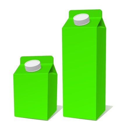 pasteurization: Green Paper Milk Product Container Set. Illustration