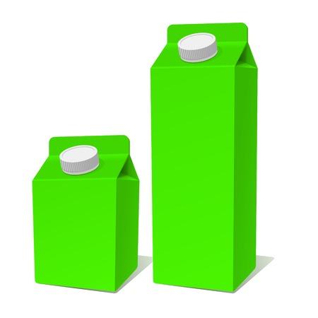 envase de leche: Libro Verde Producto Lácteo Tetra Pack de Container Set. Vectores
