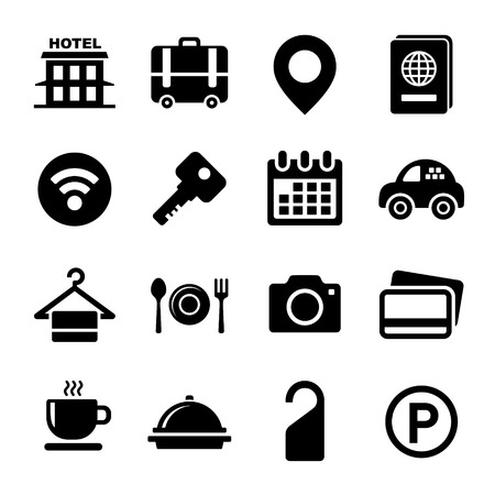 keycard: Hotel Icons Set on White Background. Vector