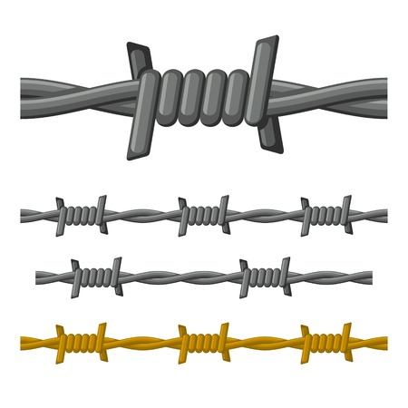 barb wire isolated: Barbed Wire Seamless Set on White Background Vector illustration