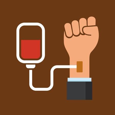 transfusion: Hand with Blood Bag. Donation Icon. Vector illustration
