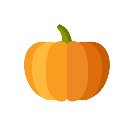 large pumpkin: Pumpkin Isolated on White. Flat Design Style.