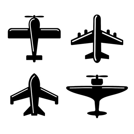fighter pilot: Different Airplane Icons Set on White. Vector illustration