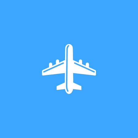 flightpath: Plane icon on blue sky background. Vector
