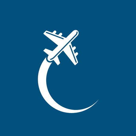 Plane icon on blue sky background. Vector